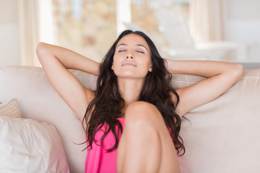 Woman relaxing feeling positive